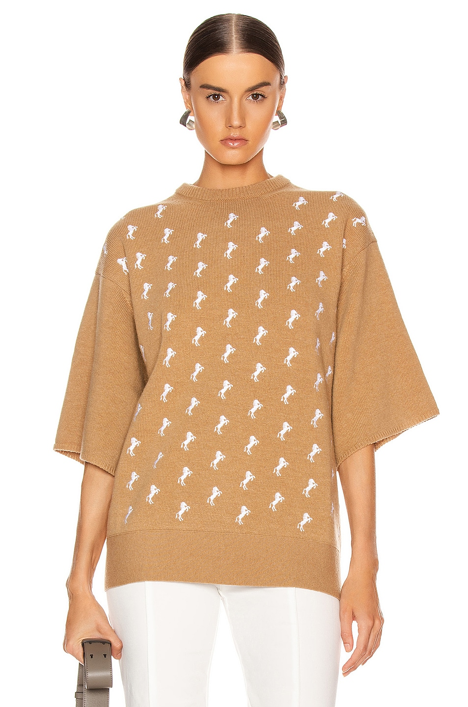 Image 1 of Chloe Embroidered Horse Sweater in Coffee Brown