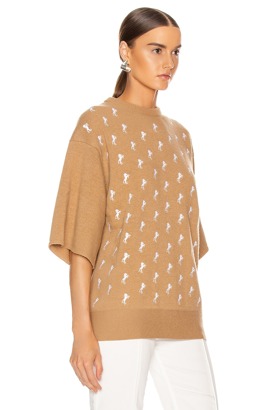 Image 2 of Chloe Embroidered Horse Sweater in Coffee Brown