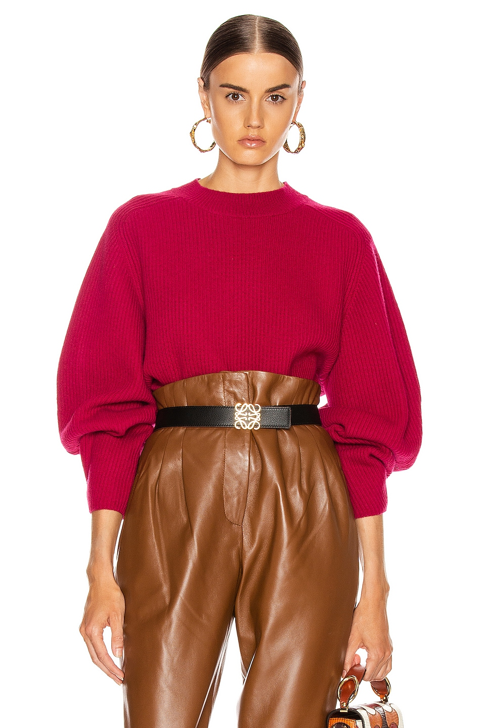 Image 1 of Chloe Balloon Sleeve Sweater in Smoked Red