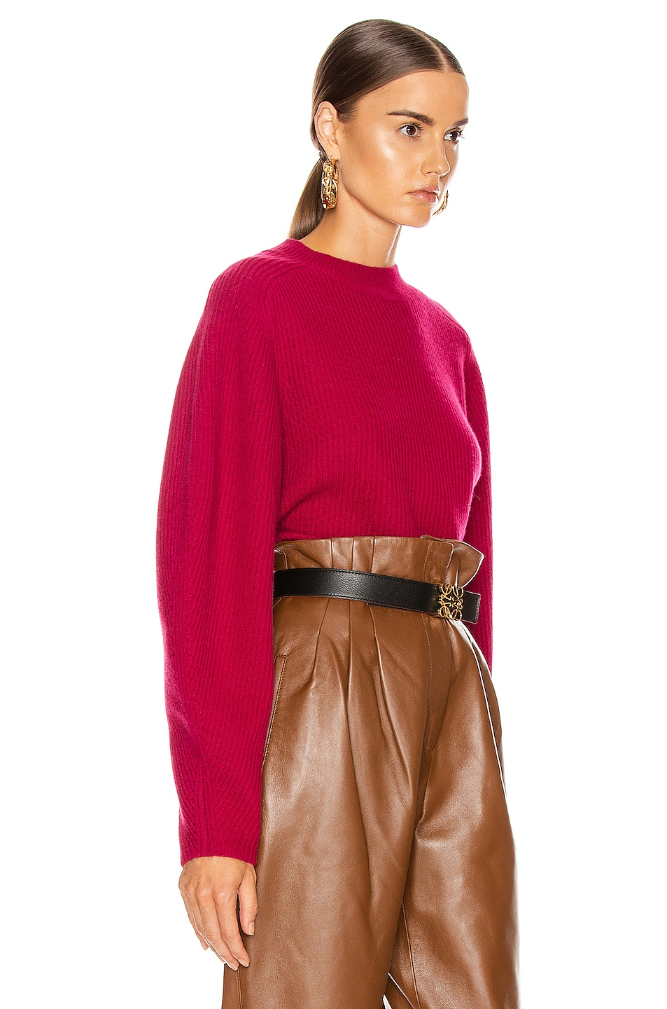 Image 2 of Chloe Balloon Sleeve Sweater in Smoked Red