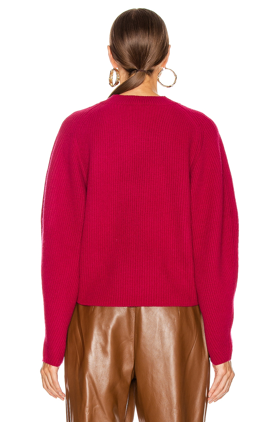 Image 3 of Chloe Balloon Sleeve Sweater in Smoked Red