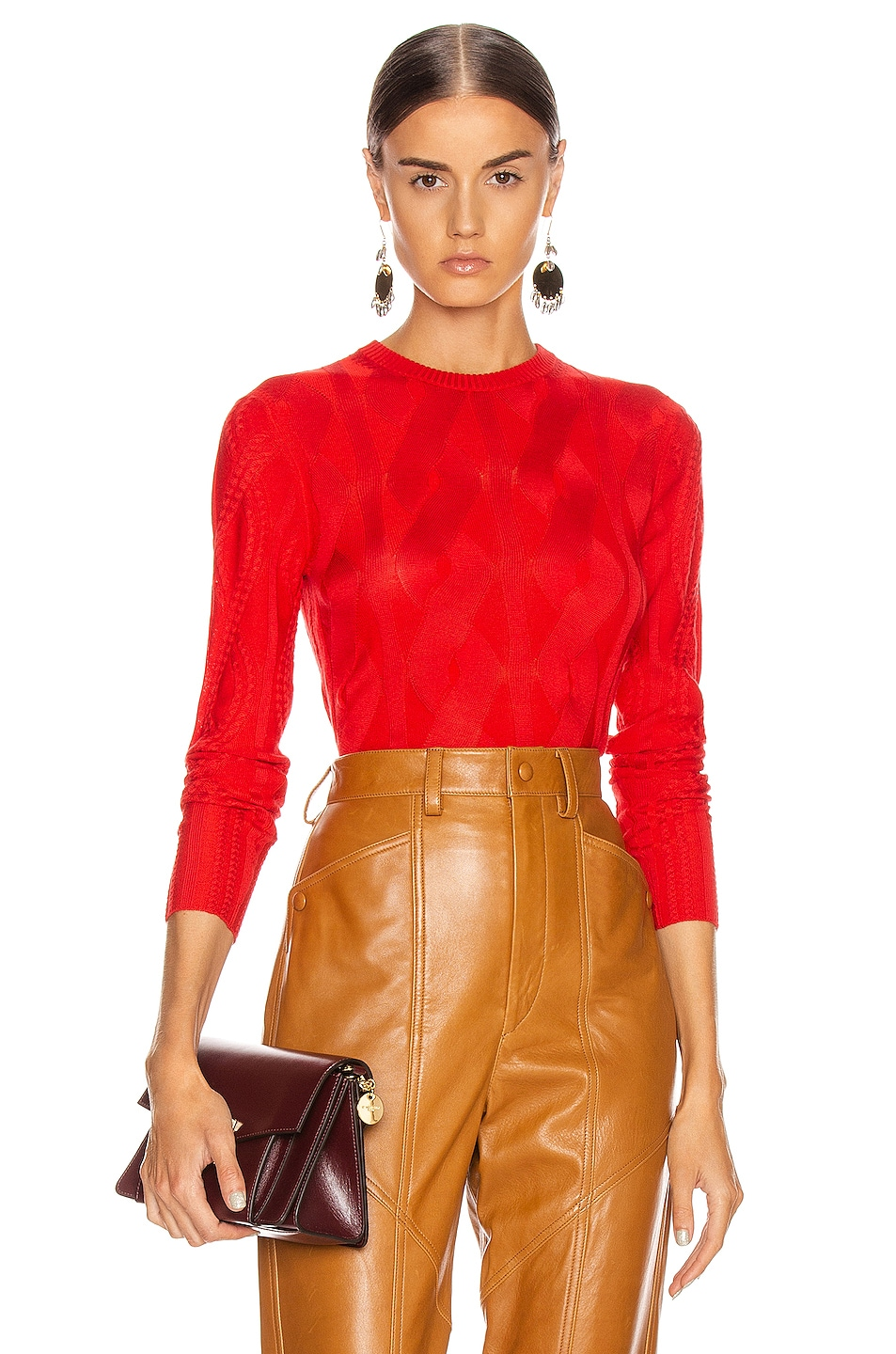 Image 1 of Chloe Cable Knit Sweater in Hot Orange