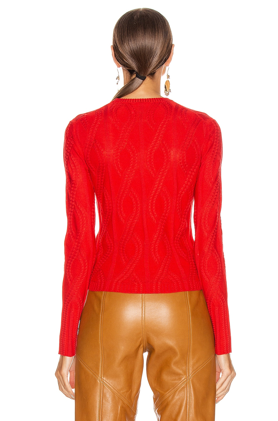 Image 3 of Chloe Cable Knit Sweater in Hot Orange