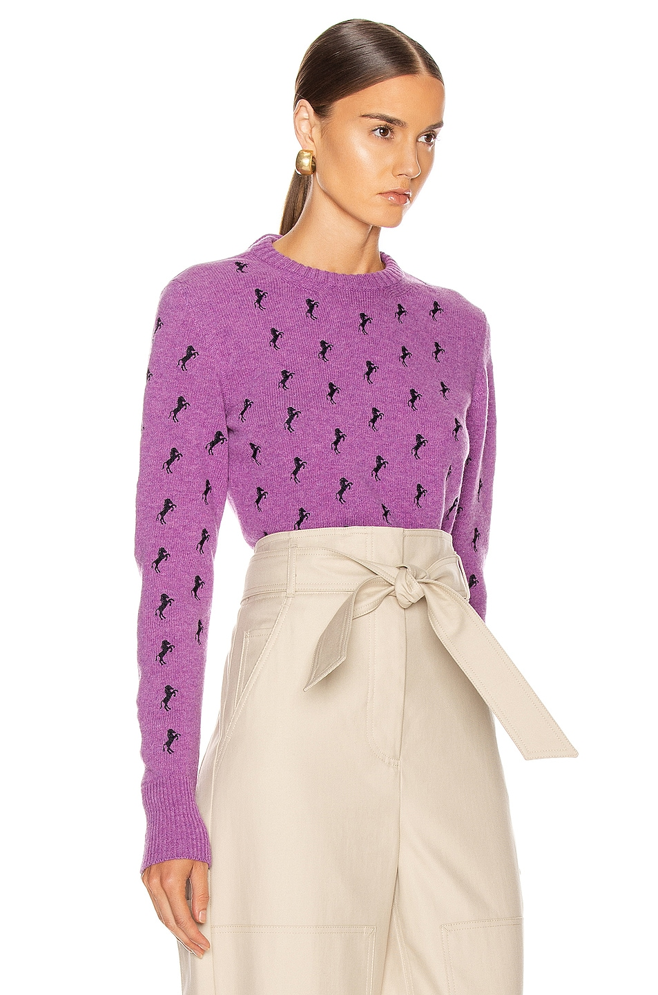 Image 2 of Chloe Embroidered Horse Tie Sweater in Sparkling Purple