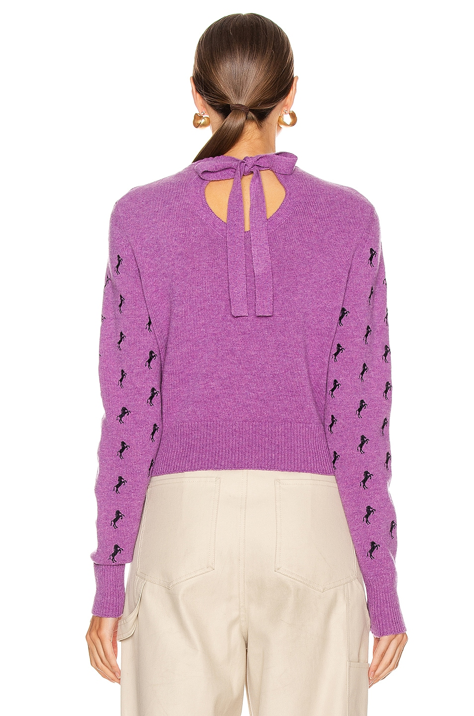 Image 3 of Chloe Embroidered Horse Tie Sweater in Sparkling Purple