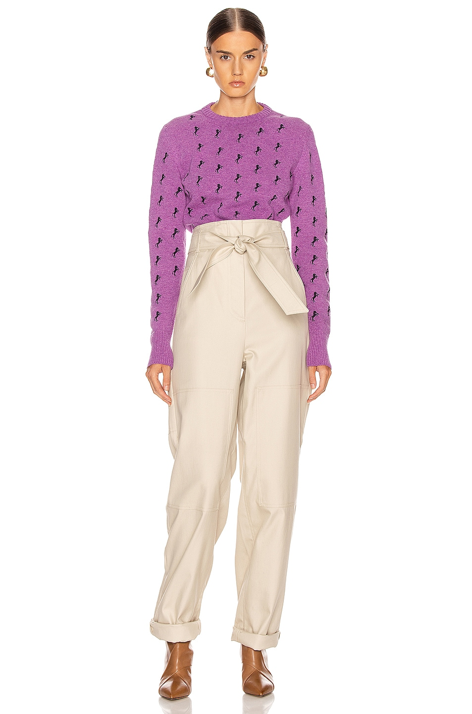 Image 4 of Chloe Embroidered Horse Tie Sweater in Sparkling Purple