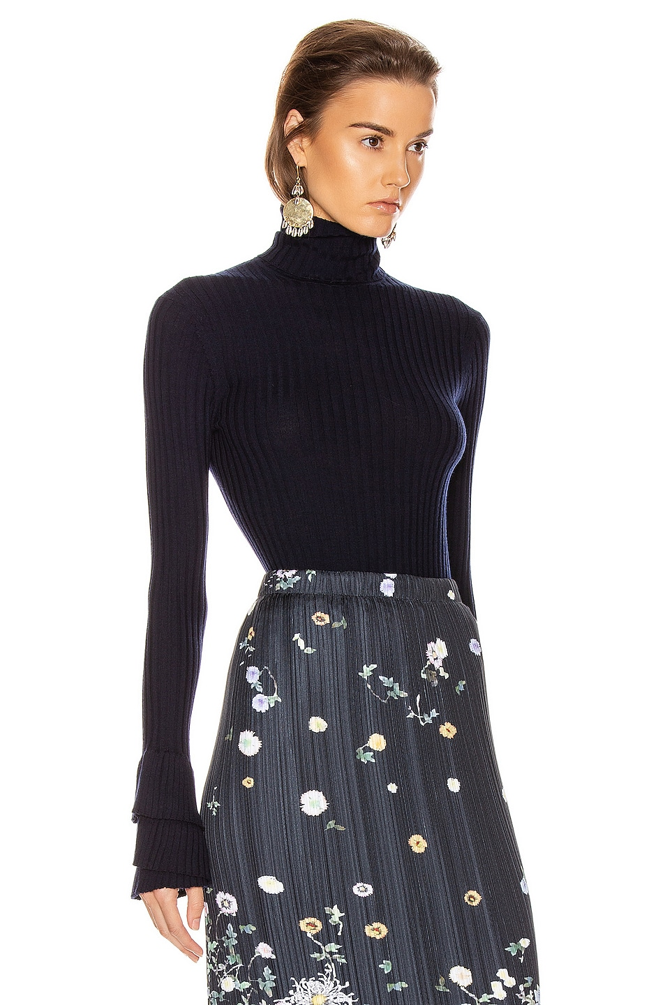 Image 2 of Chloe Ruffle Sleeve Turtleneck Top in Evening Blue