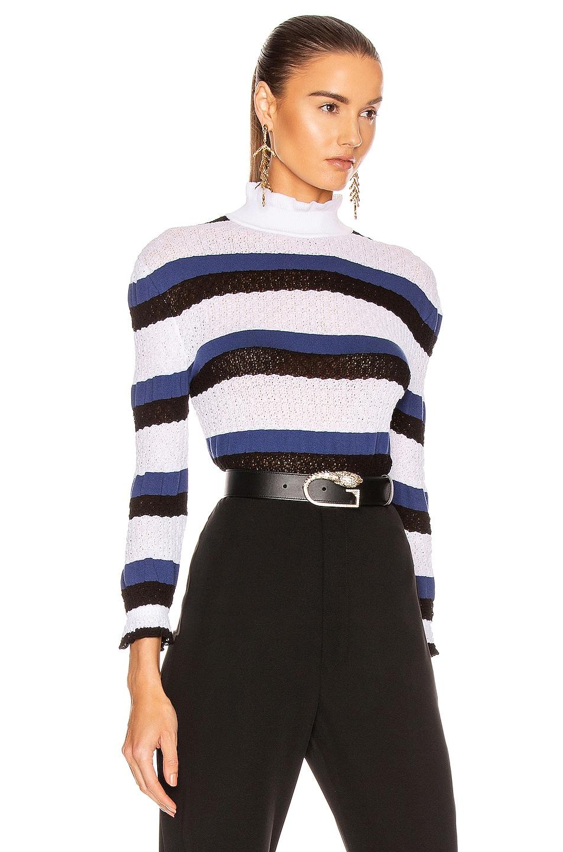 Image 2 of Chloe Striped Ruffle Sweater in Iconic Milk
