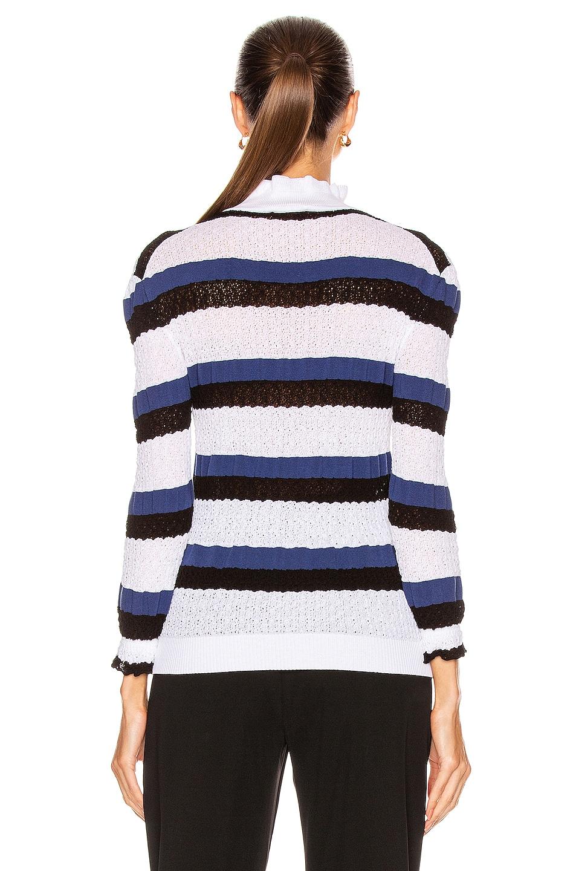 Image 3 of Chloe Striped Ruffle Sweater in Iconic Milk