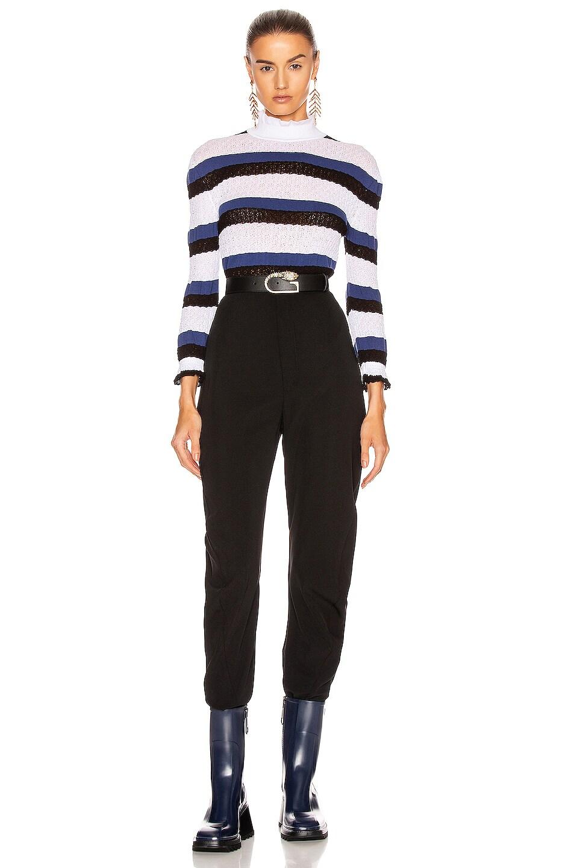 Image 4 of Chloe Striped Ruffle Sweater in Iconic Milk
