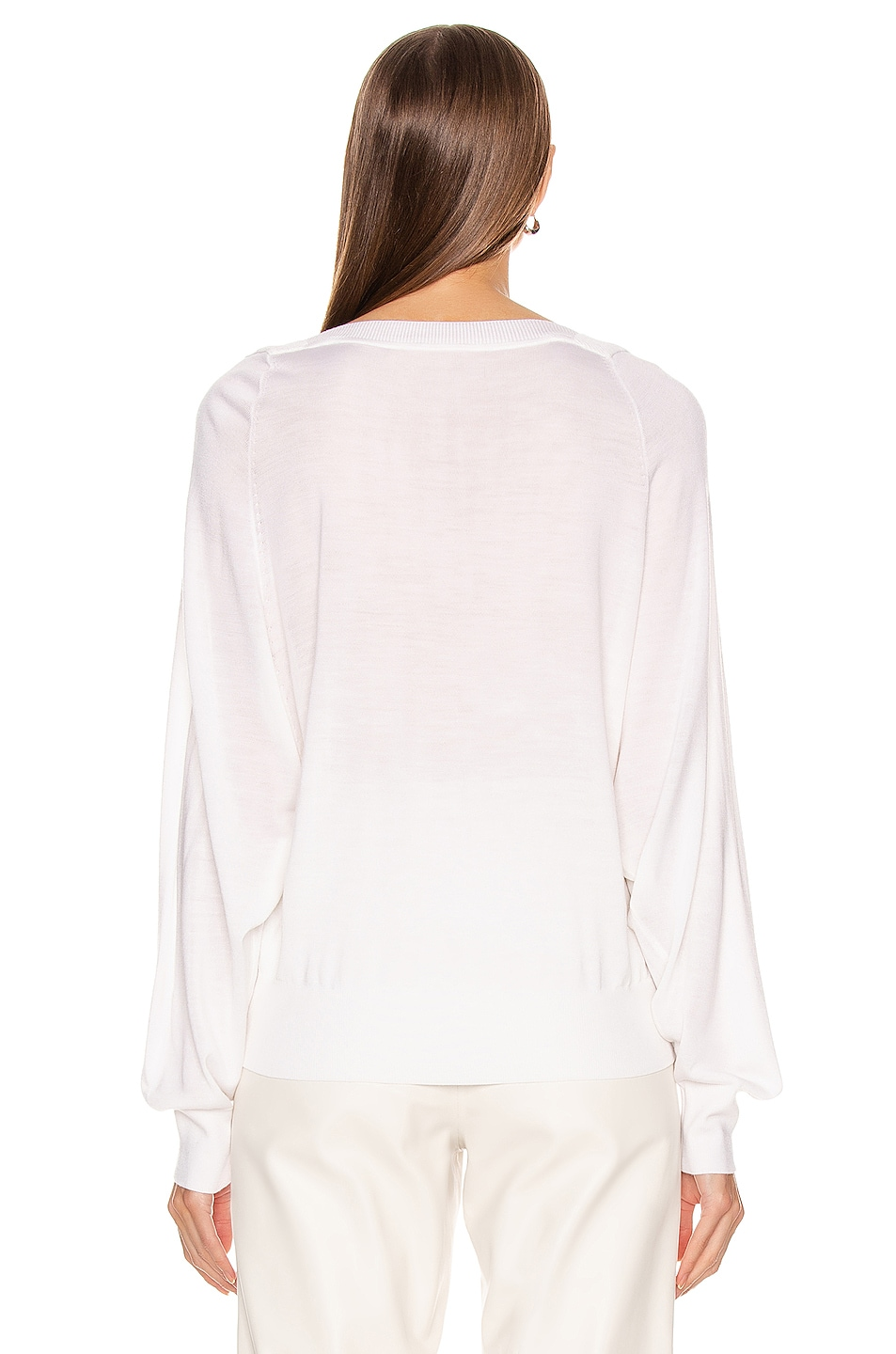 Image 3 of Chloe Lace V Neck Sweater in Iconic Milk