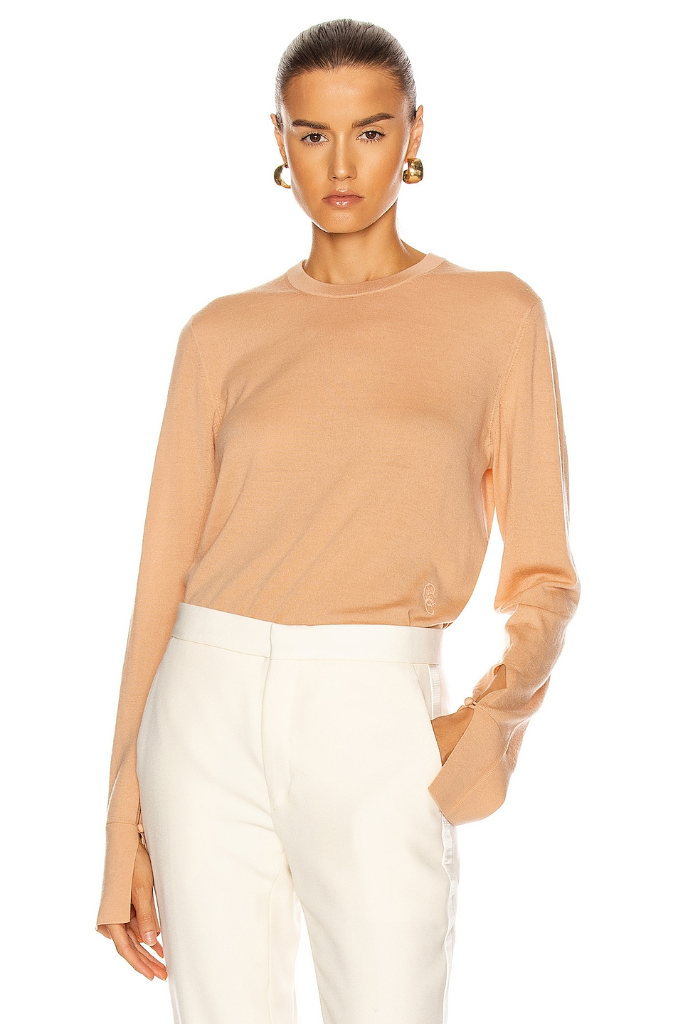 Image 1 of Chloe Crew Neck Sweater in Honey Nude