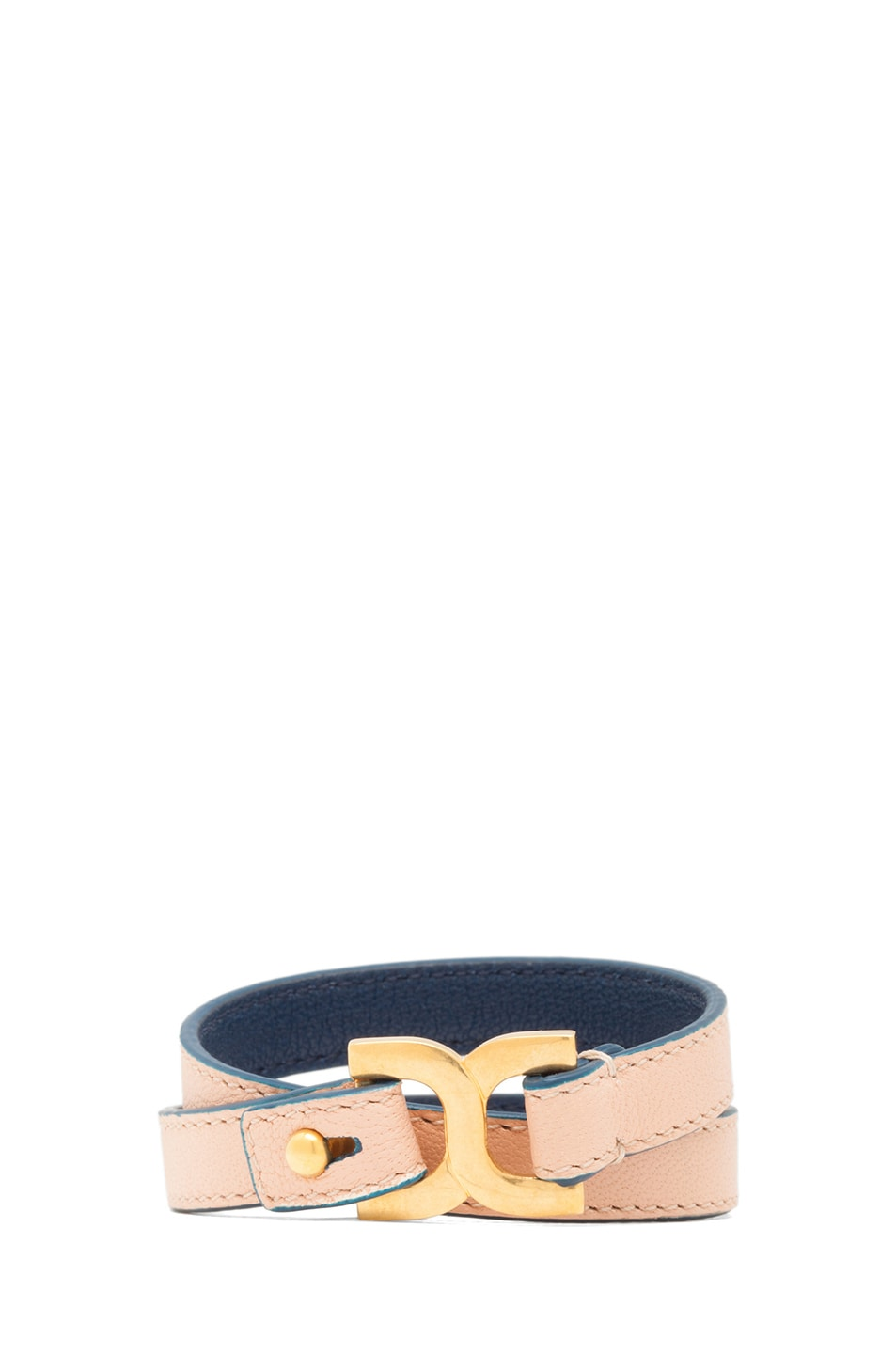 Image 1 of Chloe Marcie Leather Wrap Bracelet in Anemone Pink