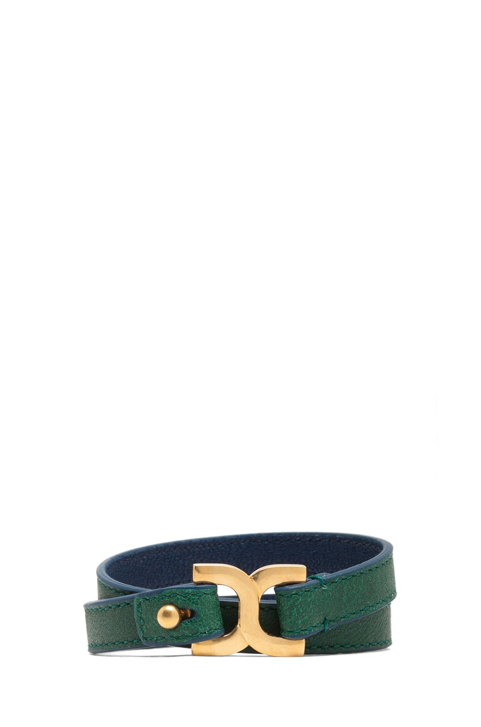 Image 1 of Chloe Marcie Leather Wrap Bracelet in Racing Green