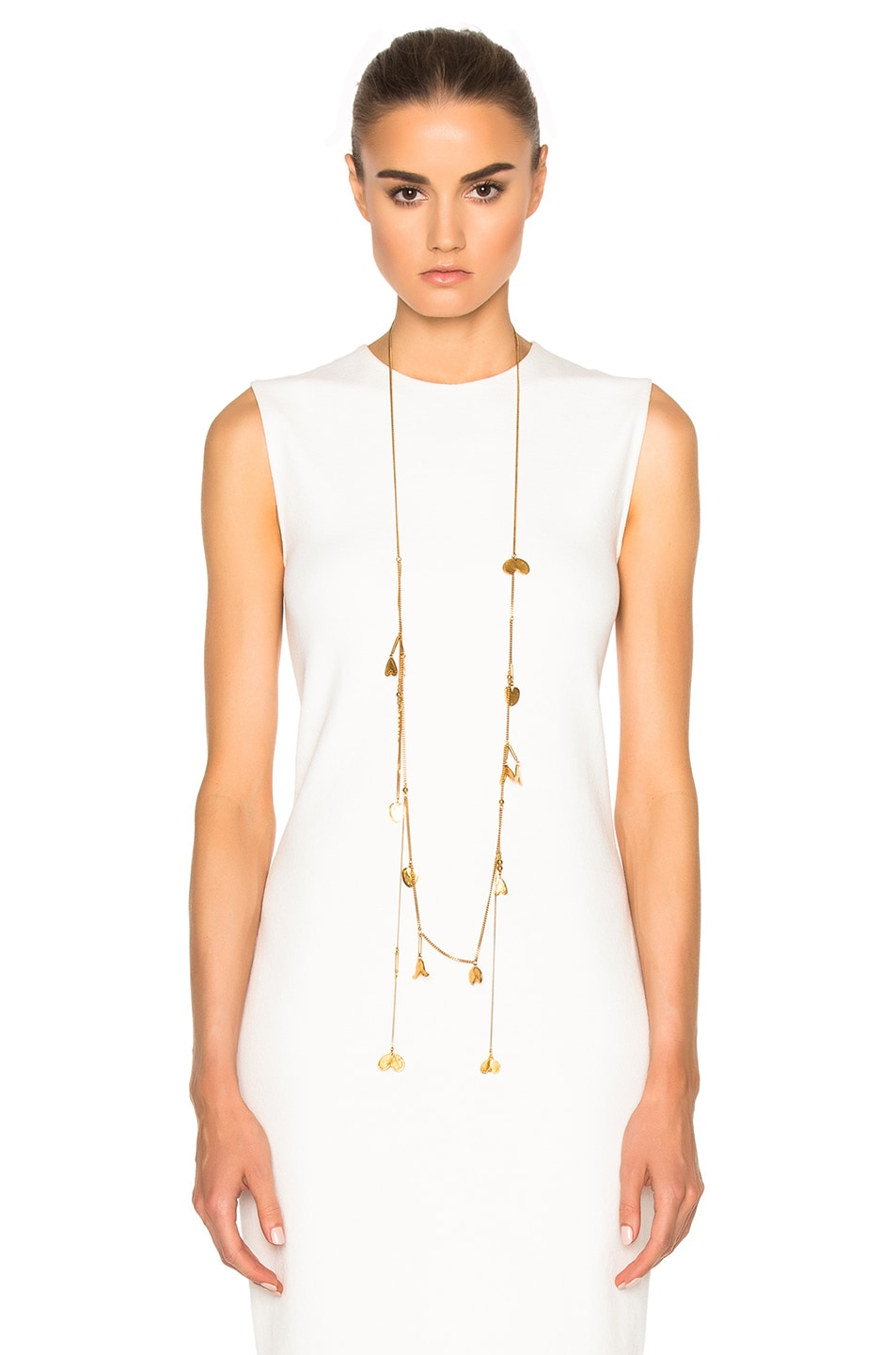 Image 4 of Chloe Keira Long Necklace in Golden Brass