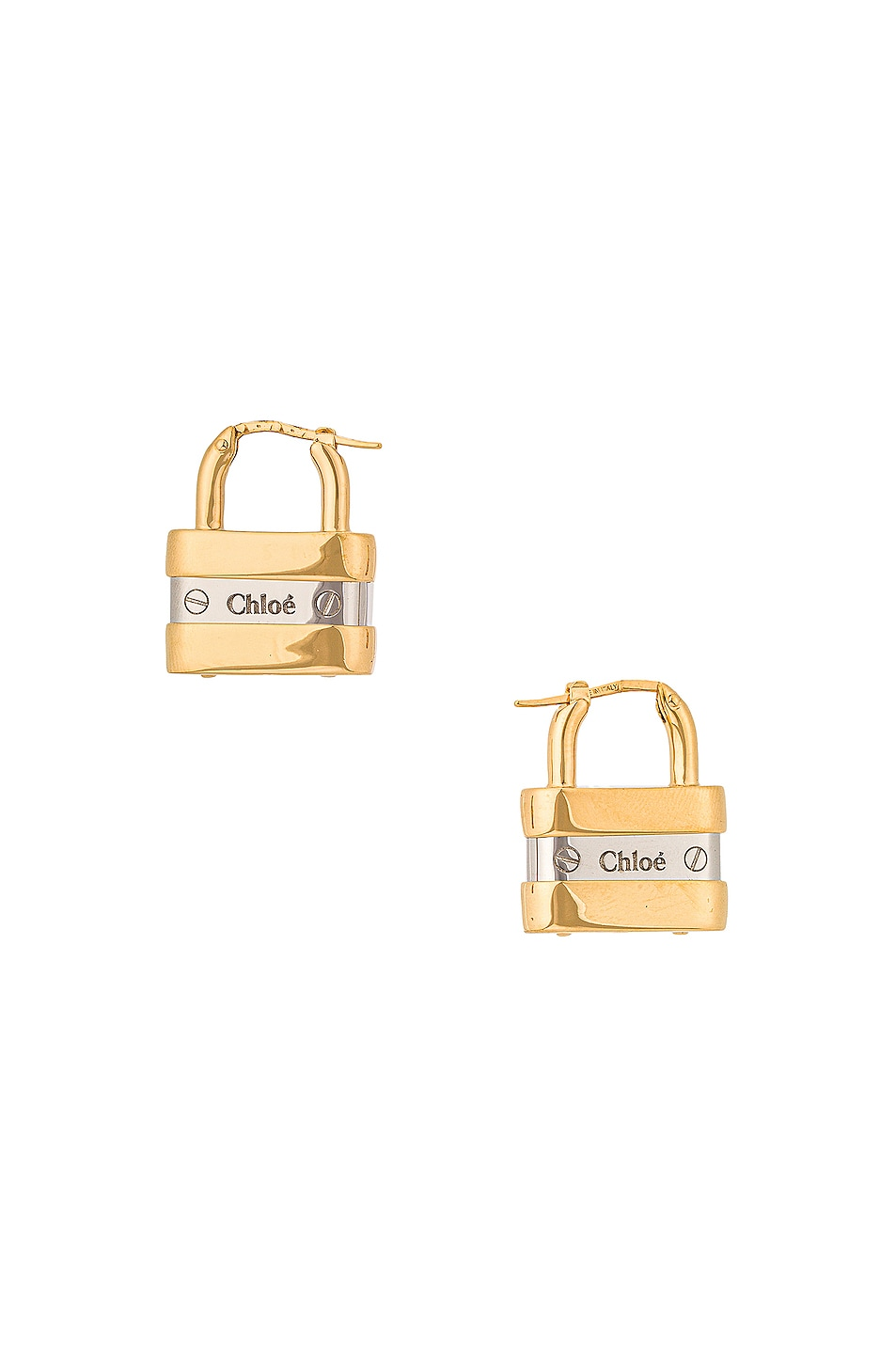 Image 1 of Chloe Colleen Lock Earrings in Gold & Silver
