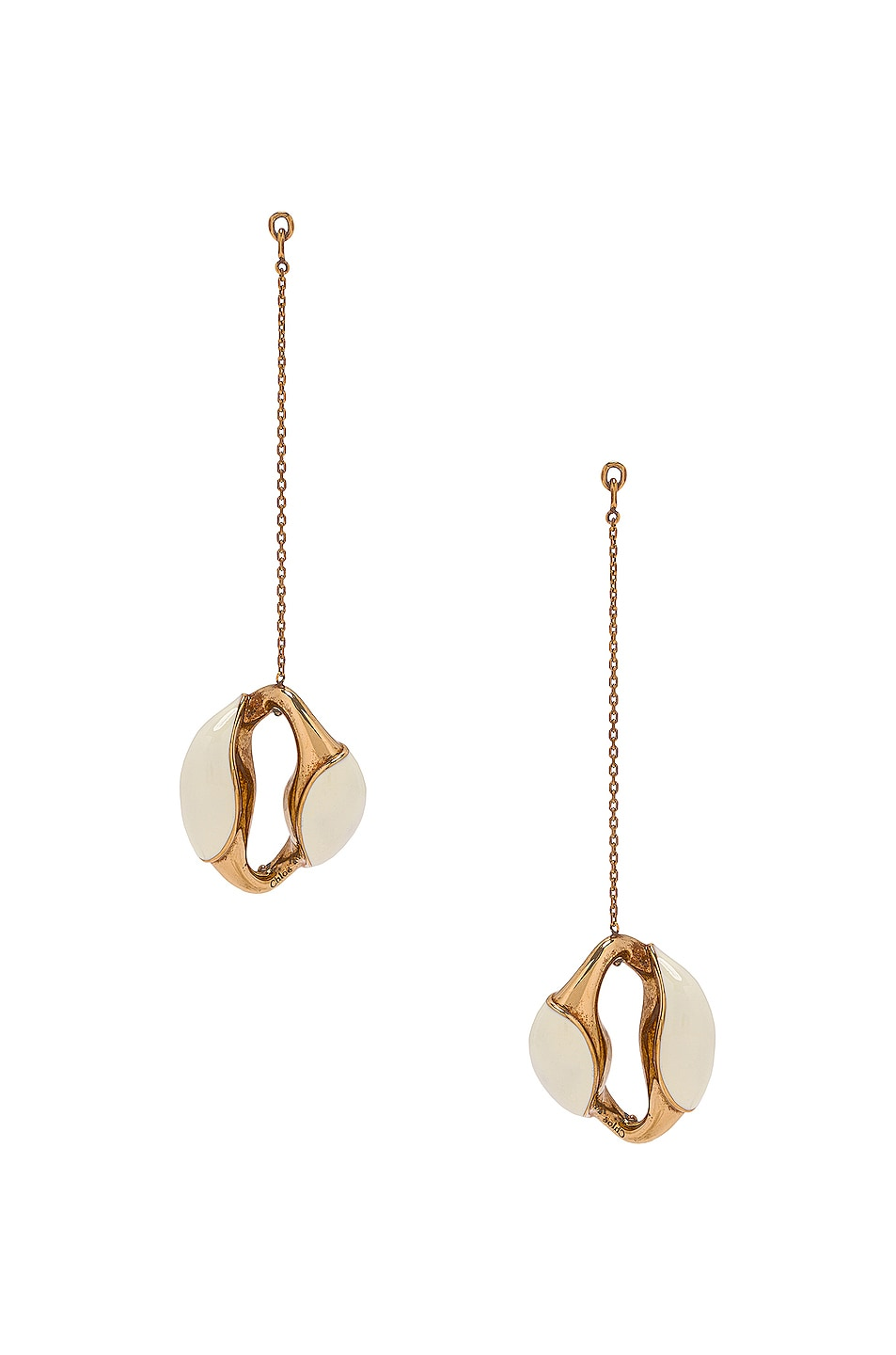 Image 1 of Chloe Brass and Lacquer Dangle Earrings in White Powder