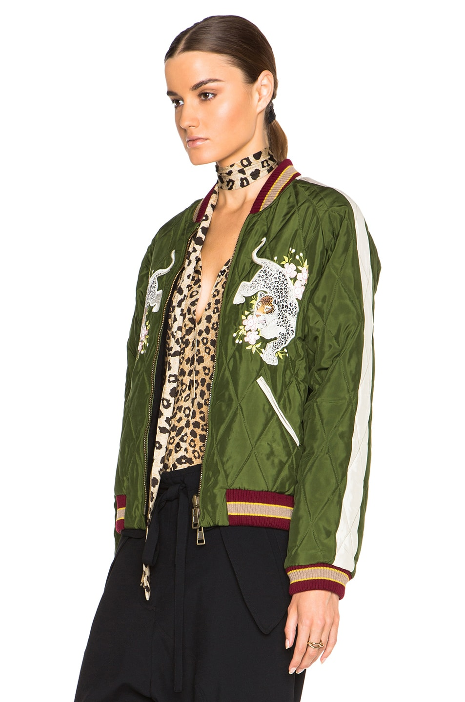 Image 3 of Chloe Technical Satin Bomber Jacket in Deep Green