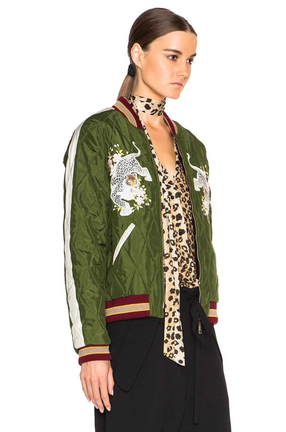 Image 4 of Chloe Technical Satin Bomber Jacket in Deep Green