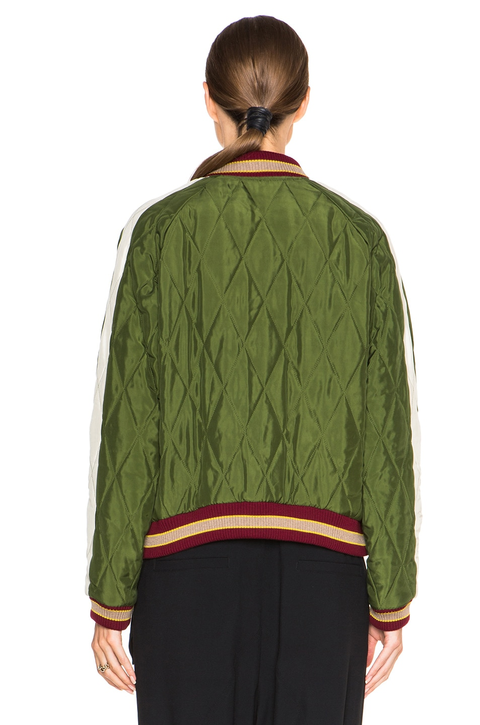 Image 6 of Chloe Technical Satin Bomber Jacket in Deep Green
