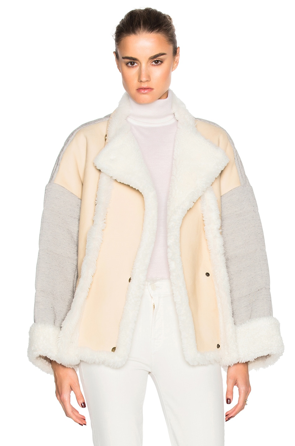 Image 1 of Chloe Curly Shearling Mix Jacket in Milk