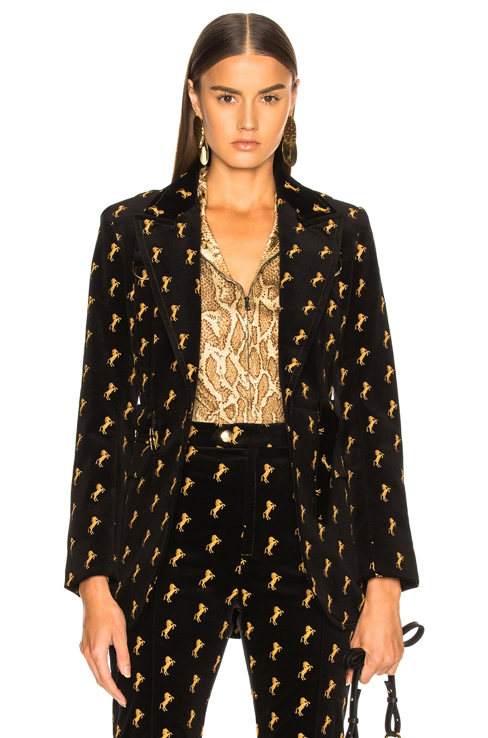 Image 1 of Chloe Horse Embroidered Blazer in Black