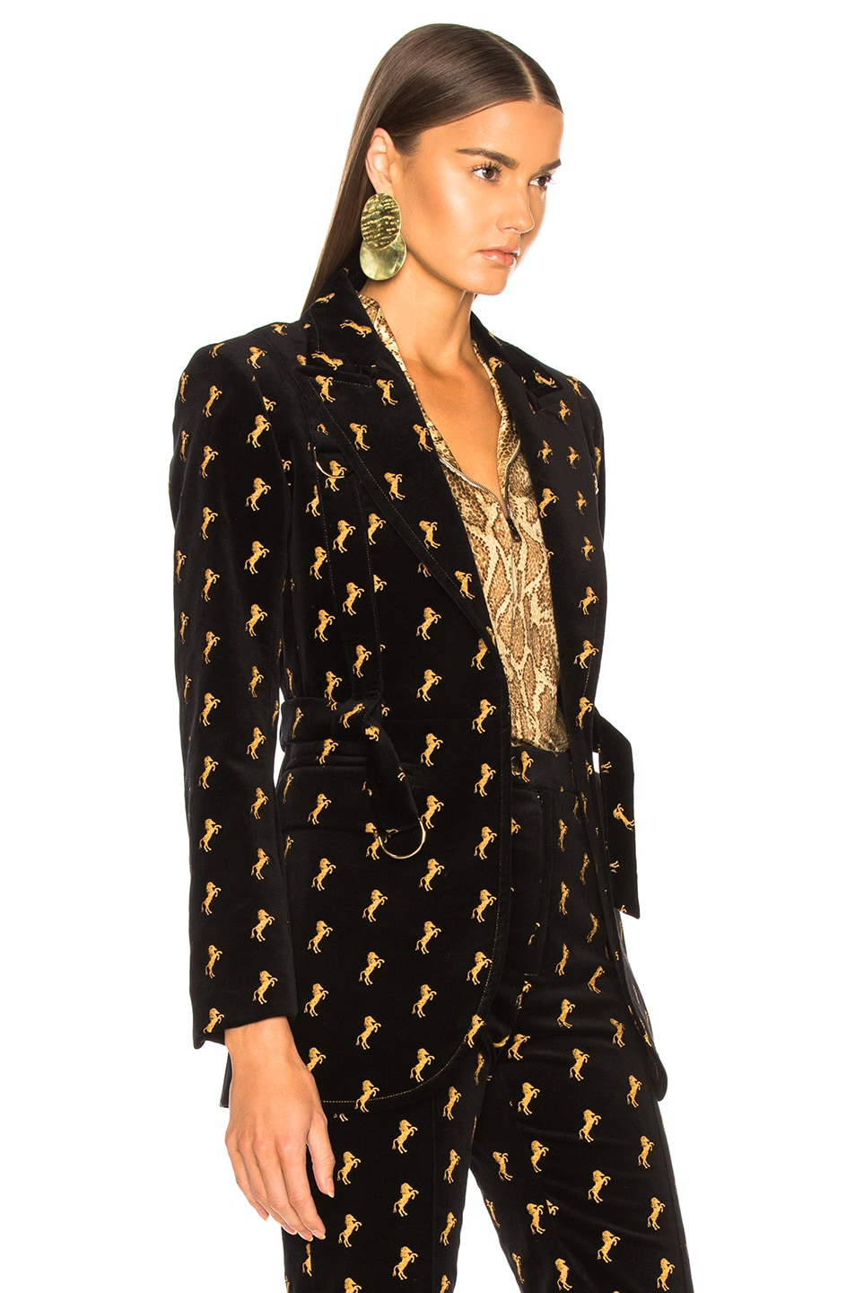 Image 3 of Chloe Horse Embroidered Blazer in Black