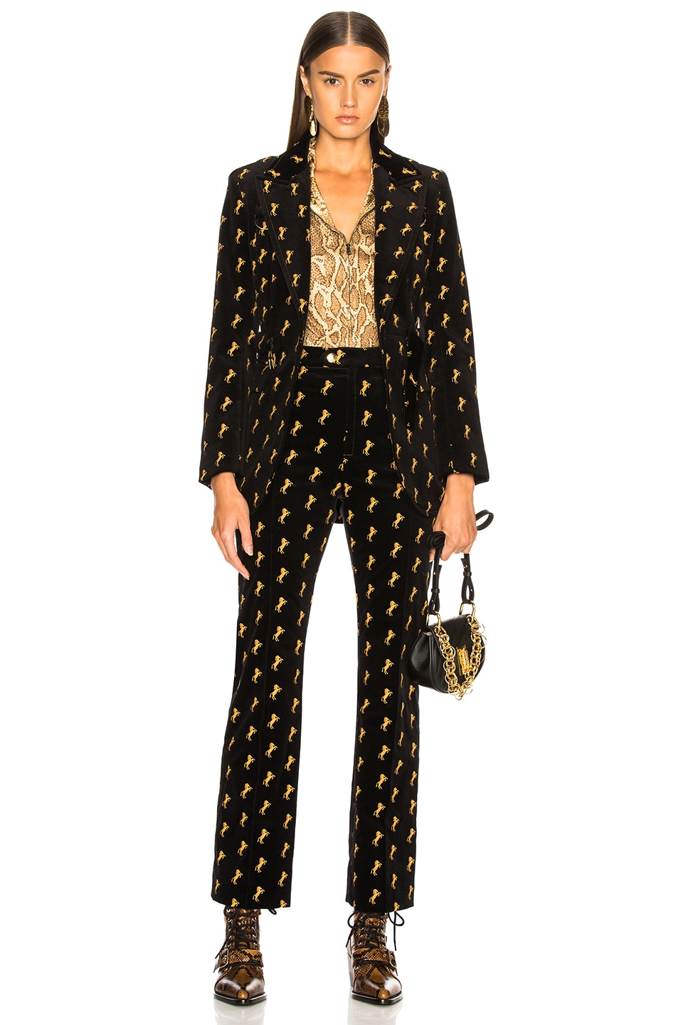 Image 5 of Chloe Horse Embroidered Blazer in Black
