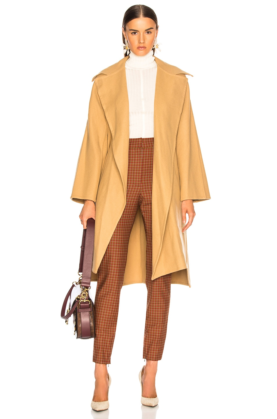 Image 1 of Chloe Belted Double Face Wool Coat in Barley Brown