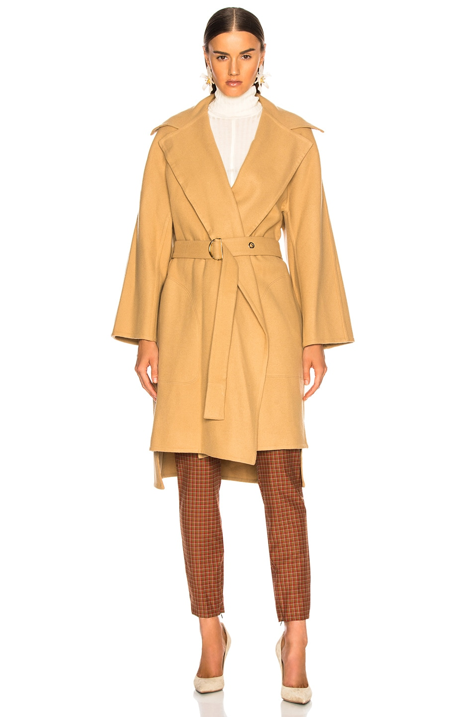 Image 2 of Chloe Belted Double Face Wool Coat in Barley Brown