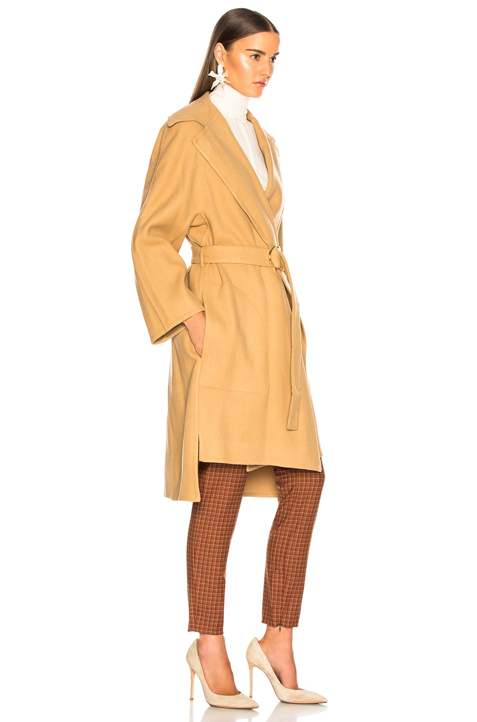 Image 3 of Chloe Belted Double Face Wool Coat in Barley Brown