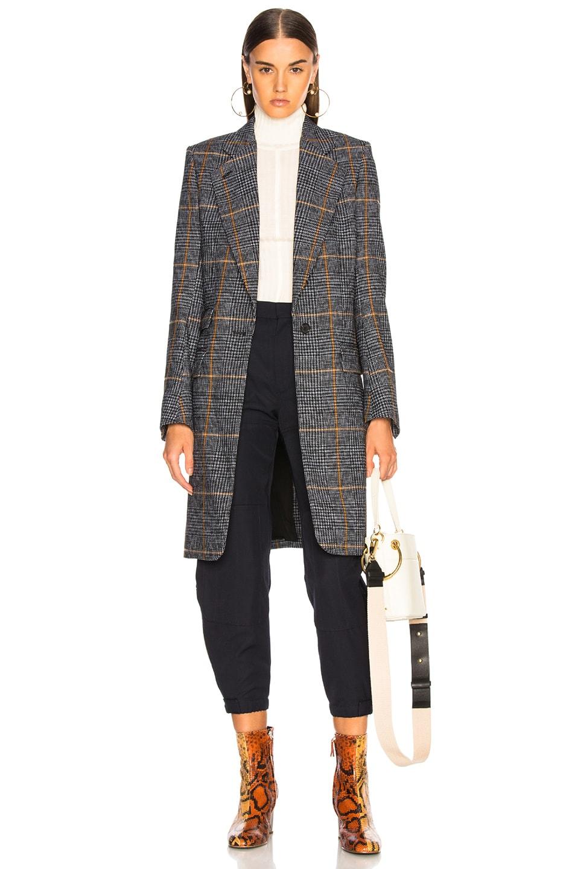 Image 1 of Chloe Prince de Galles Wool Mix Check Coat in Grey Multicolor