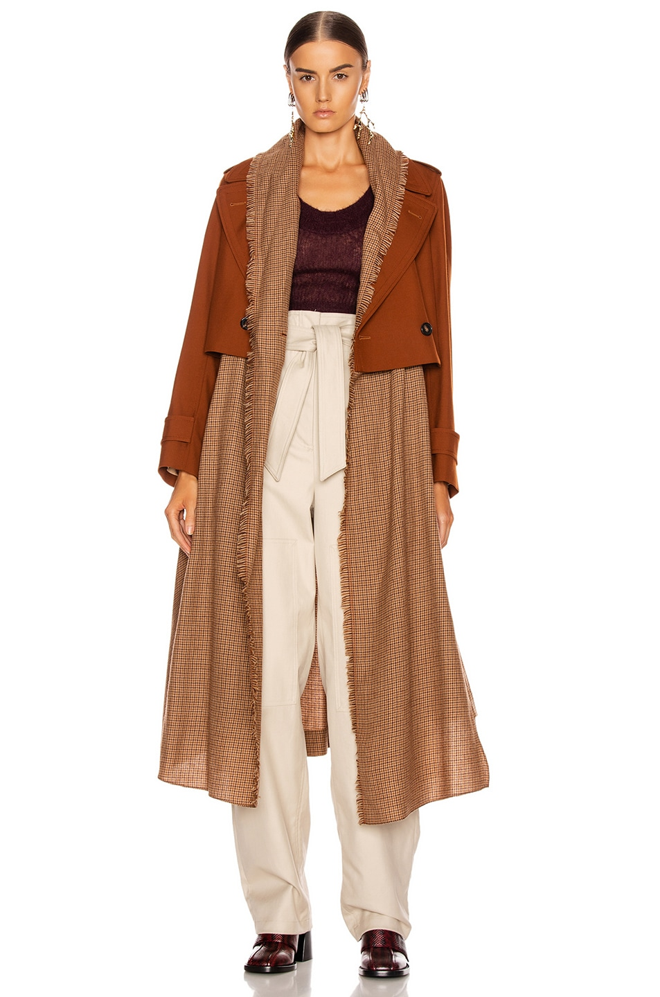 Image 1 of Chloe Two Tone Long Jacket in Wildwood Brown