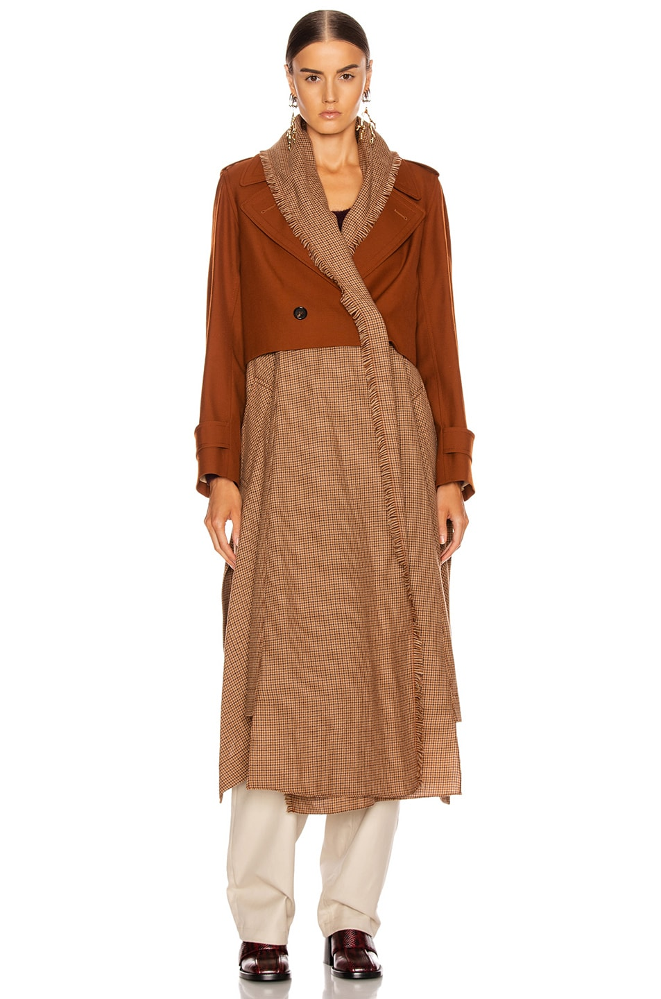 Image 2 of Chloe Two Tone Long Jacket in Wildwood Brown
