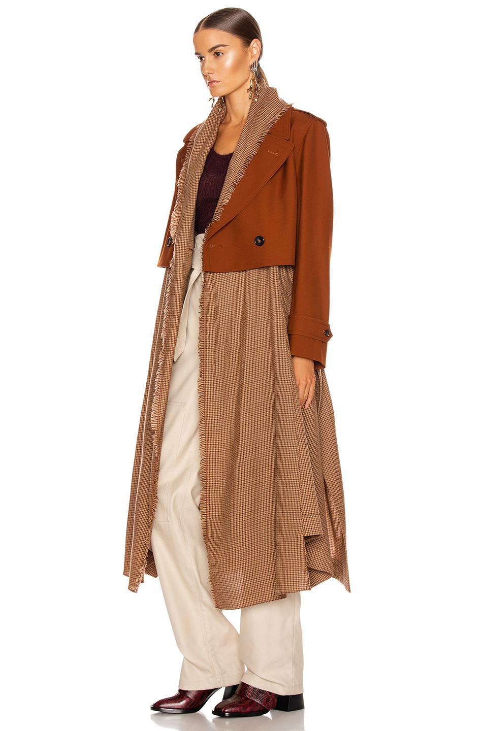 Image 4 of Chloe Two Tone Long Jacket in Wildwood Brown