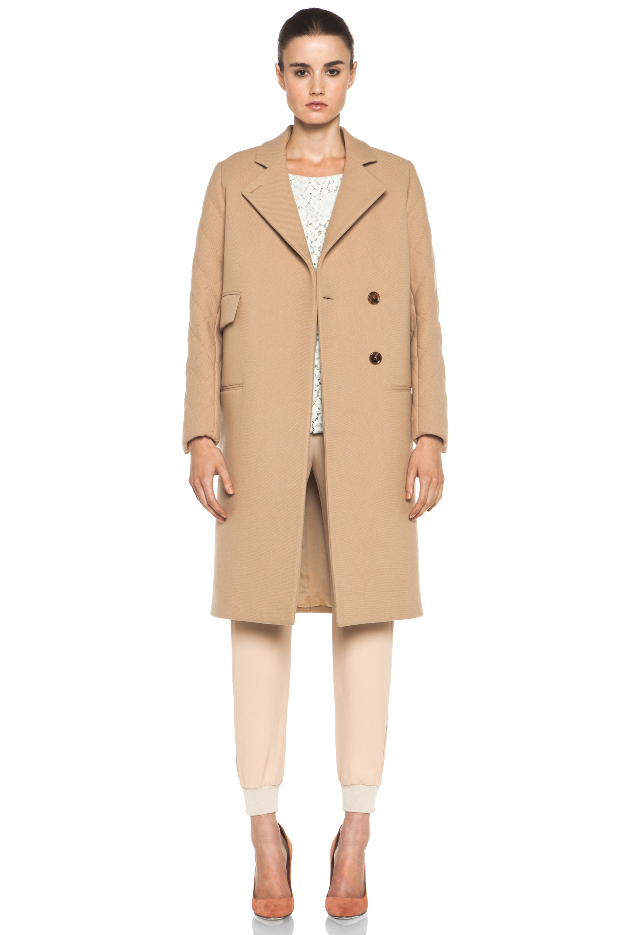 Image 1 of Chloe Quilted Arm Coat in Camel