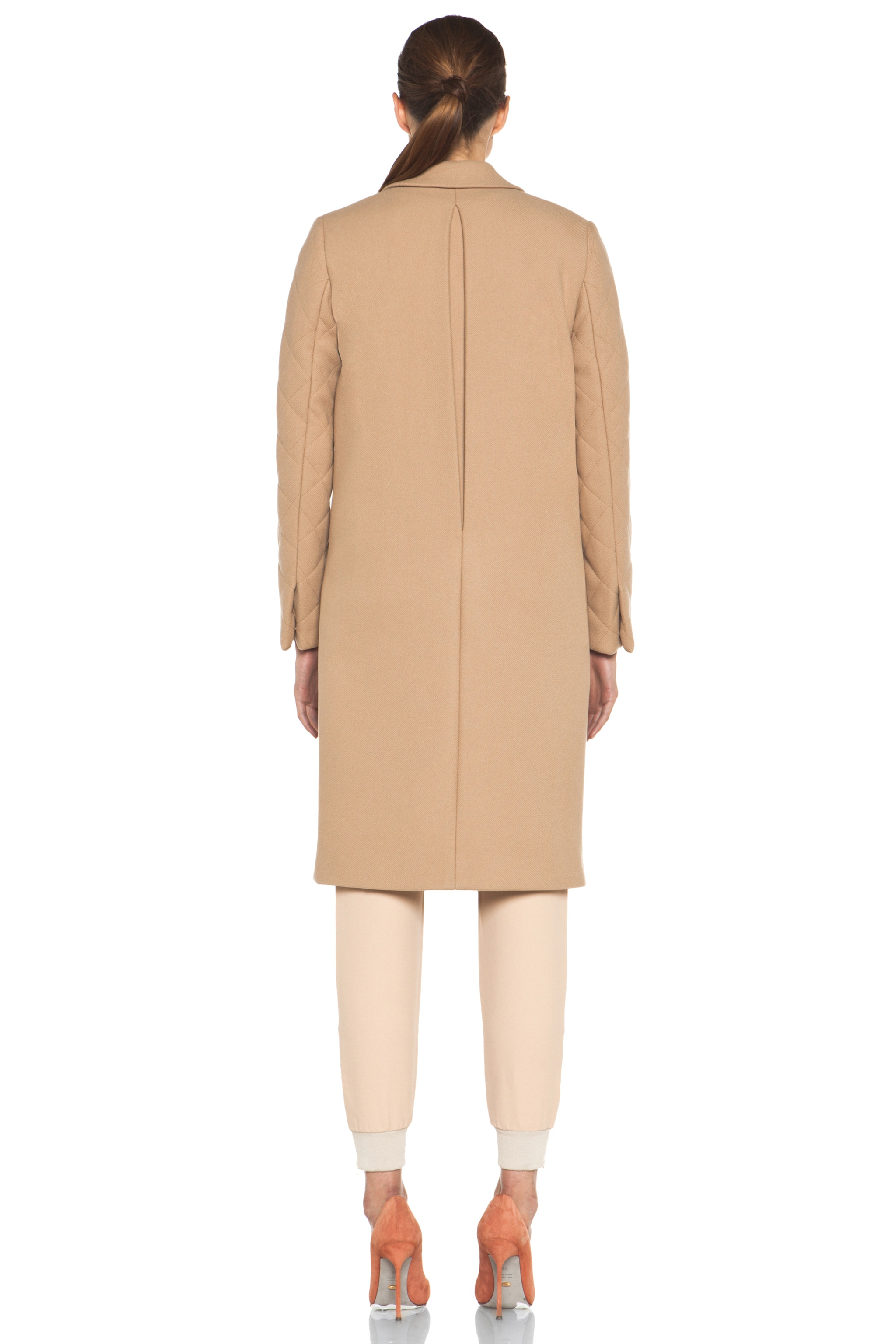 Image 5 of Chloe Quilted Arm Coat in Camel