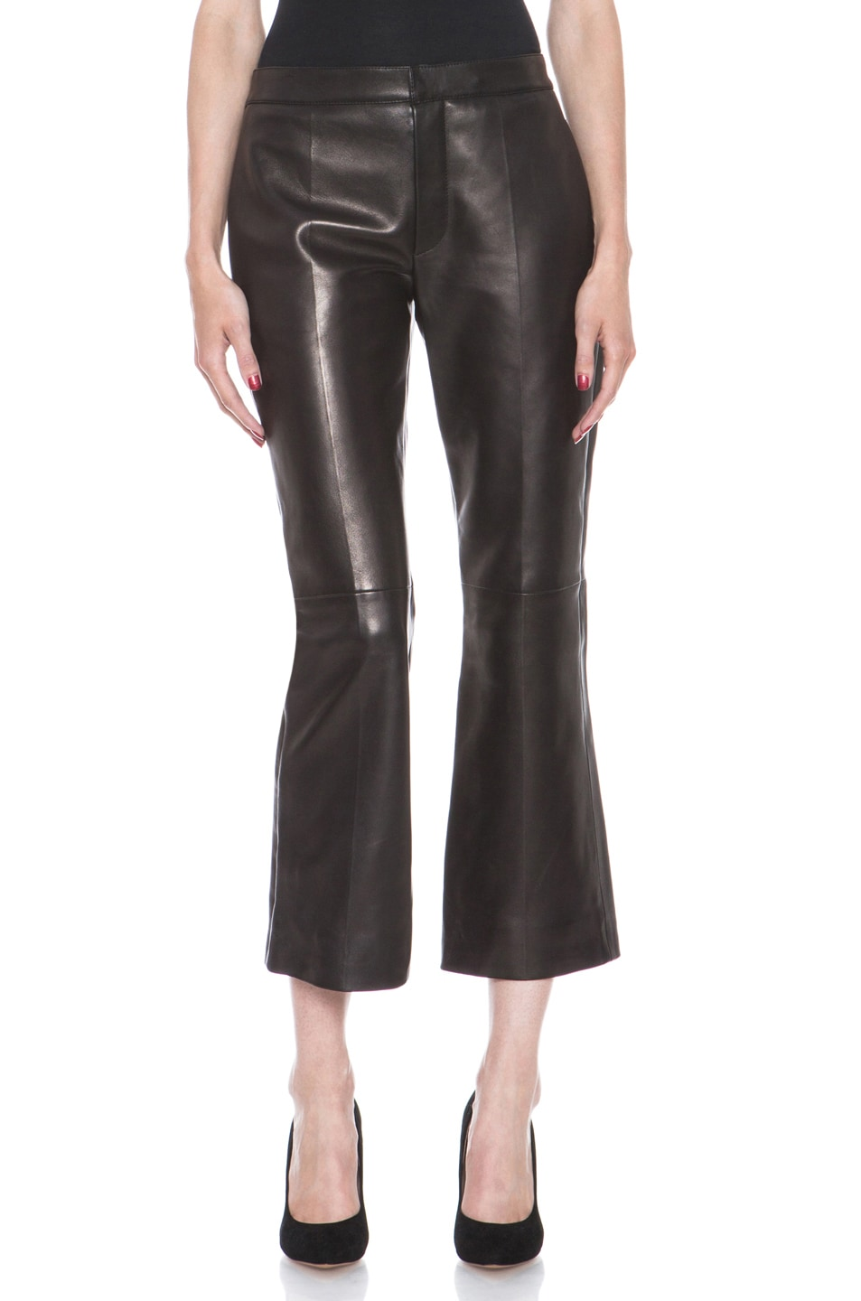 Image 1 of Chloe Nappa Leather Cropped Pant in Black