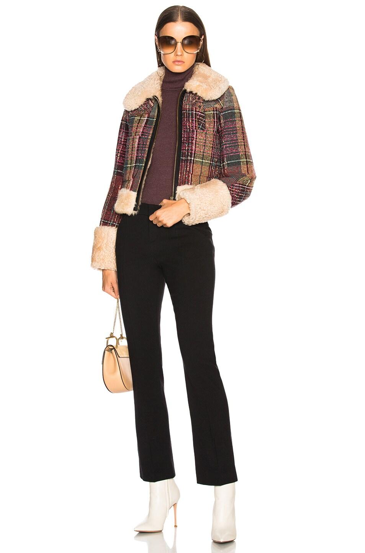 Image 4 of Chloe Diagonal Wool Trousers in Black