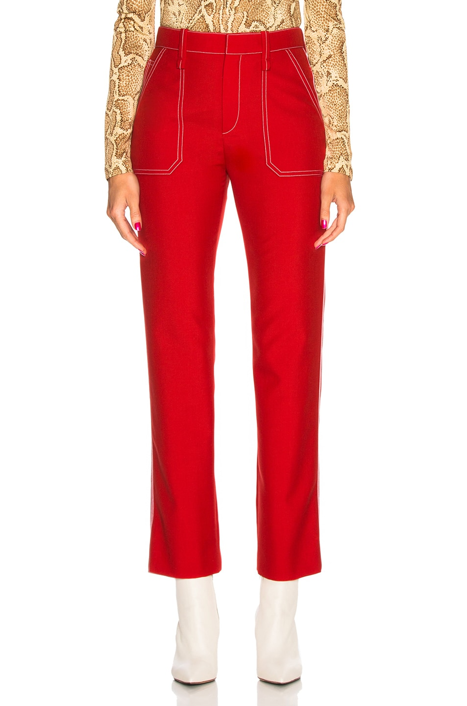 Image 1 of Chloe Contrast Stitching Trousers in Poppy Red
