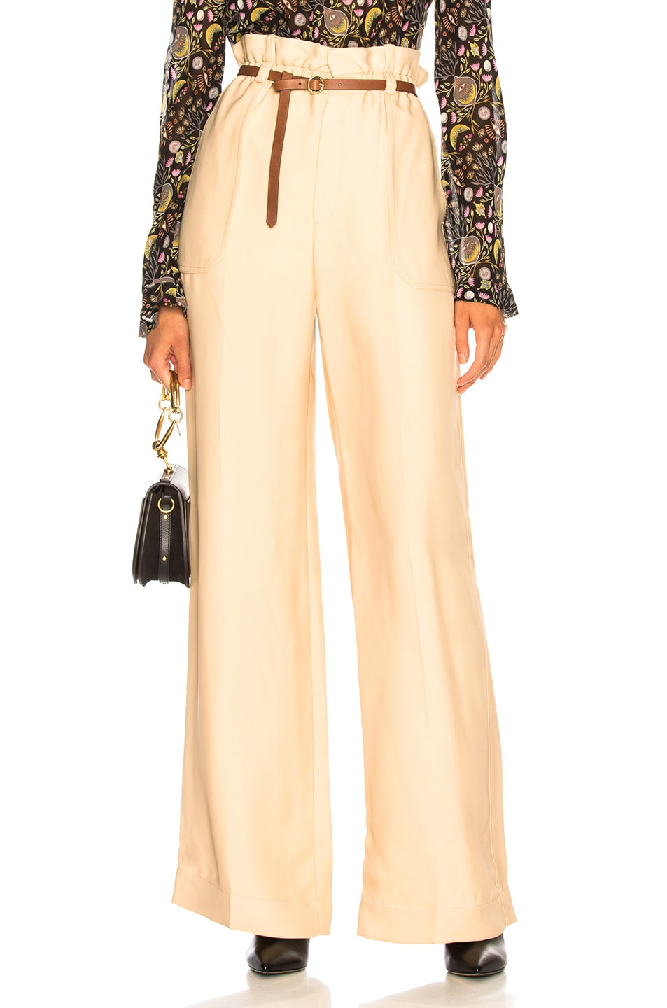 Image 1 of Chloe Fluid Viscose Wide Leg Trousers in Hot Sand