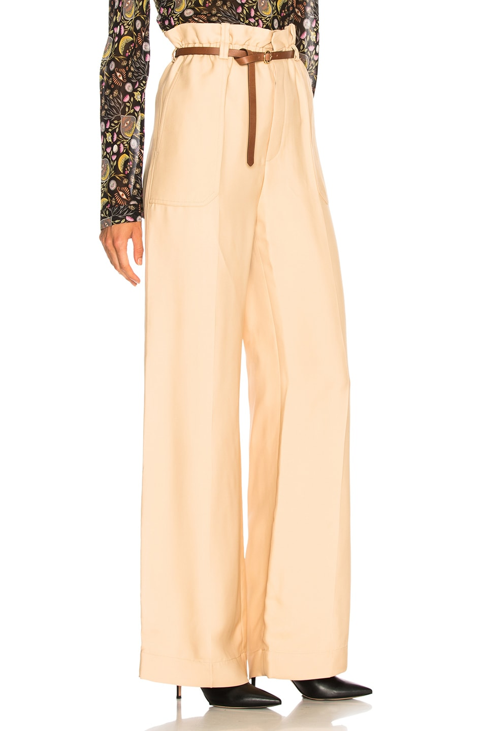 Image 2 of Chloe Fluid Viscose Wide Leg Trousers in Hot Sand