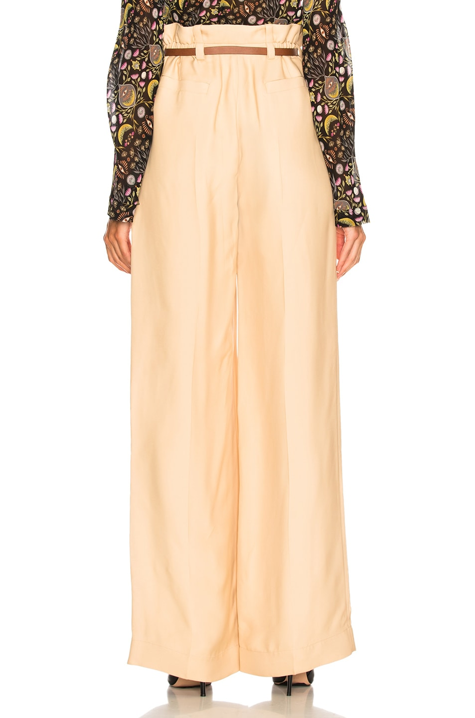 Image 3 of Chloe Fluid Viscose Wide Leg Trousers in Hot Sand