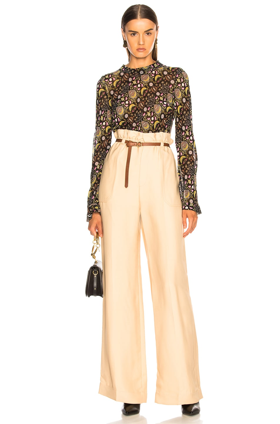 Image 4 of Chloe Fluid Viscose Wide Leg Trousers in Hot Sand