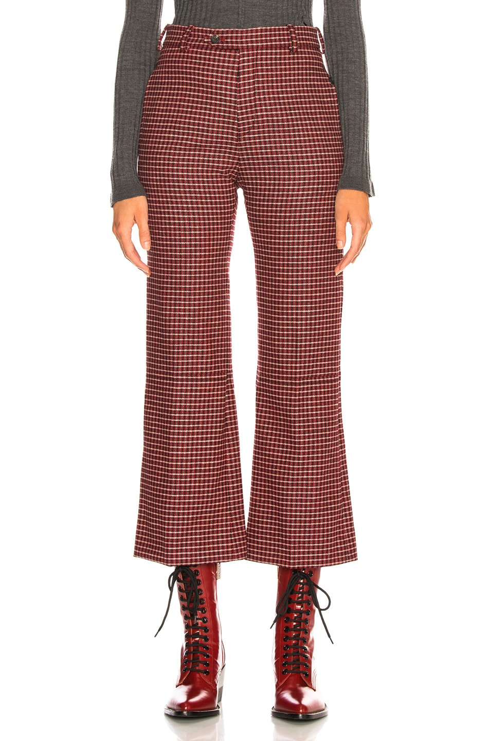 Image 1 of Chloe Houndstooth Wool Crop Flare Trousers in Red & Black