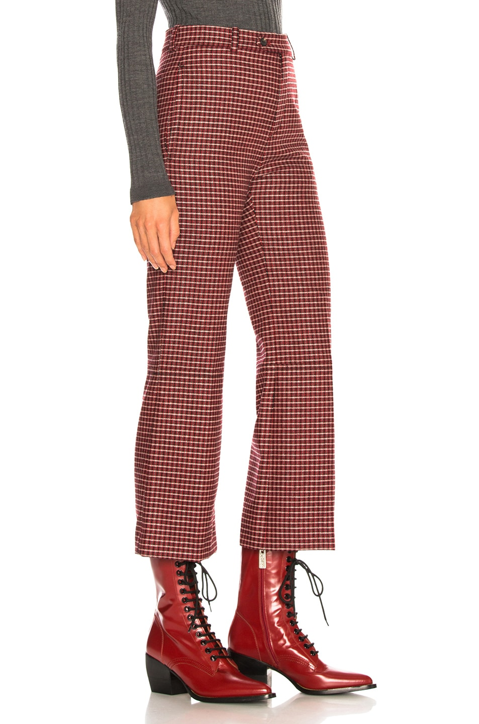Image 2 of Chloe Houndstooth Wool Crop Flare Trousers in Red & Black