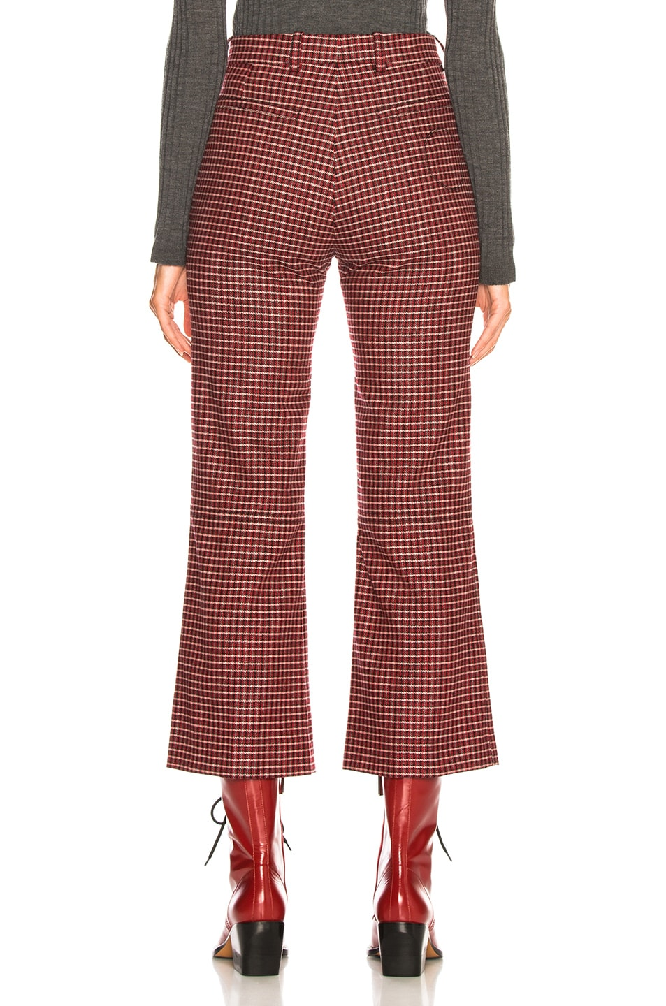Image 3 of Chloe Houndstooth Wool Crop Flare Trousers in Red & Black