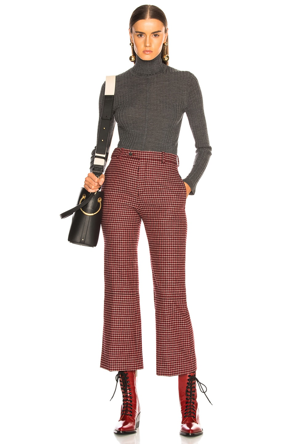 Image 4 of Chloe Houndstooth Wool Crop Flare Trousers in Red & Black