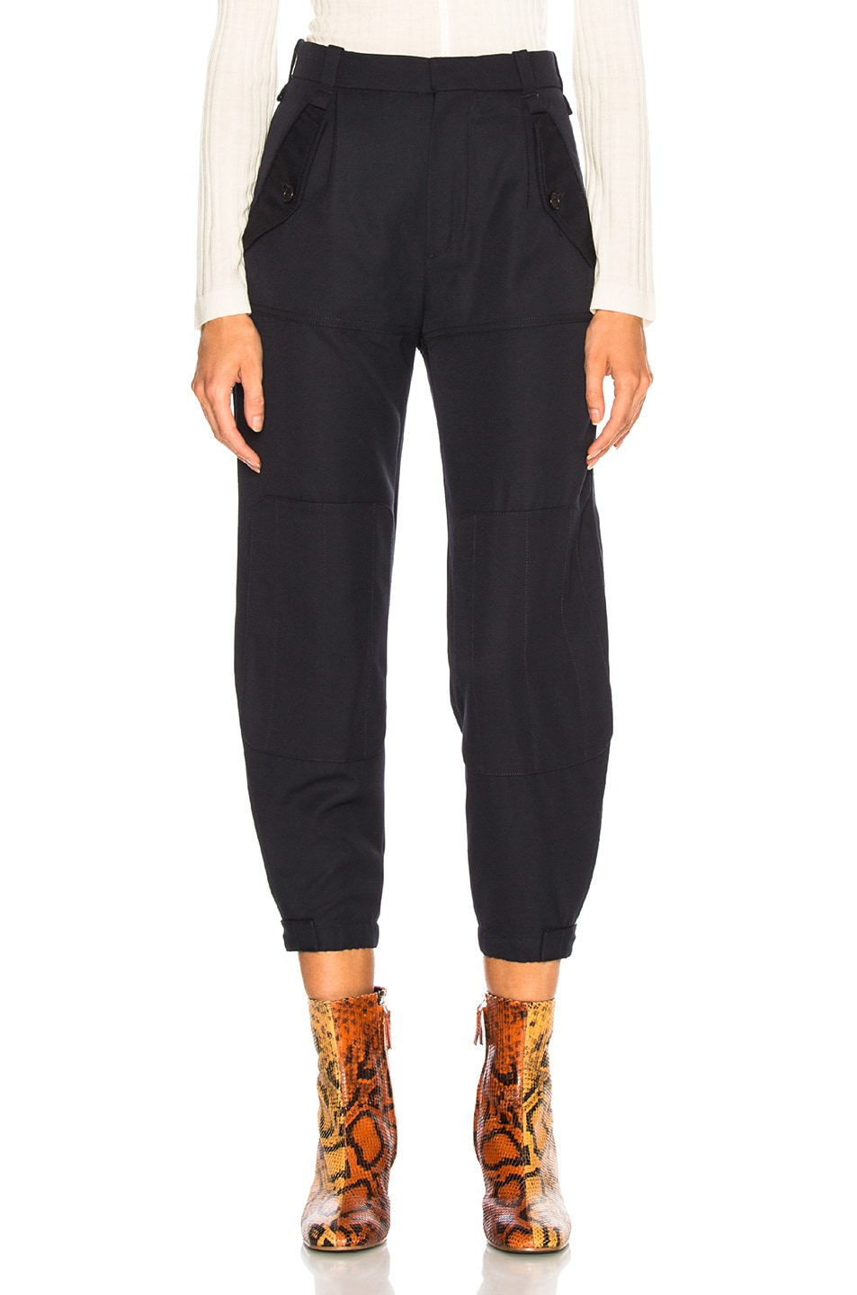 Image 1 of Chloe Serge Wool Mix Trousers in Iconic Navy