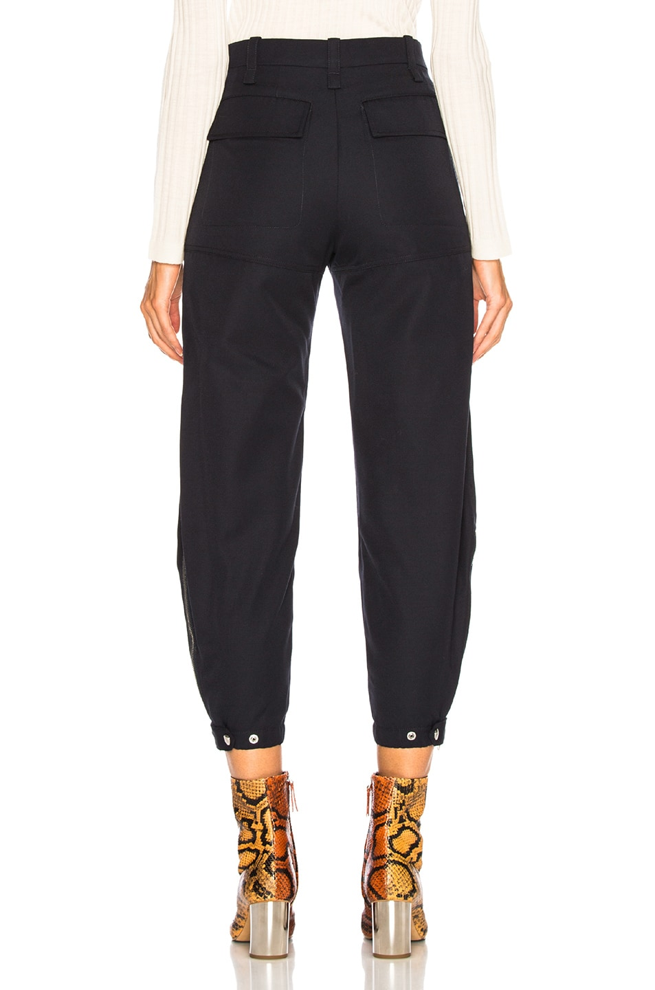 Image 3 of Chloe Serge Wool Mix Trousers in Iconic Navy